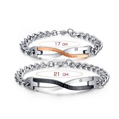 命中注定手鍊 手環 鈦鋼 白鋼 情侶手鍊 情人節禮物 鑲鑽 沂軒精品 F0016