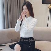 依多多 秋季新款韓版白色襯衫刺繡雪紡衫修身上衣