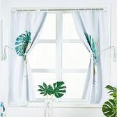 落地窗簾 飄窗伸縮桿免打孔安裝網紅窗簾成品簡約現代出租屋臥室遮光布【快速出貨中秋節八折】