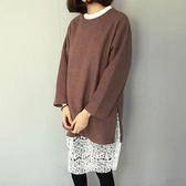 長袖洋裝 蕾絲拼接假兩件長袖洋裝連身裙【KLG9】 BOBI  09/08