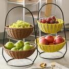 水果盤 雙層水果盤 客廳家用北歐果籃多層茶幾瀝水手提零食收納盆歐式 新年優惠