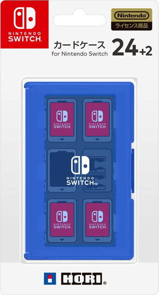 [哈GAME族]滿399免運費 可刷卡 日本 HORI 任天堂 Nintendo Switch 24+2遊戲收納盒 藍色 NSW-026