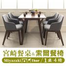 實木/餐桌椅/餐廳/咖啡廳 宮崎餐桌+索爾餐椅(1桌4椅)  dayneeds