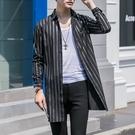 FINDSENSE品牌 秋季 新款 日本 男 高端  文藝條紋 個性襯衣 時尚