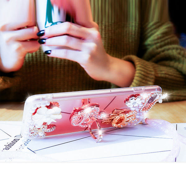 三星 Note8 Note5 Note4 電鍍鏡面軟殼 水鑽 手機殼 自拍殼 指環支架 支架手機殼 送掛繩