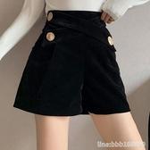 金絲絨褲子 格格家 秋季黑色金絲絨短褲女寬鬆闊腿高腰a字顯瘦休閒外穿短褲子 瑪麗蘇