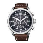 CITIZEN Eco-Drive 航空飛行計時三眼腕錶/黑x咖啡/CA4210-16E