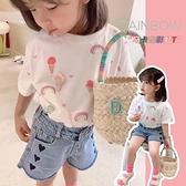 女童T恤 女童短袖T恤2021夏裝新款韓版兒童寶寶網紅純棉白色彩虹薄潮小童【快速出貨】