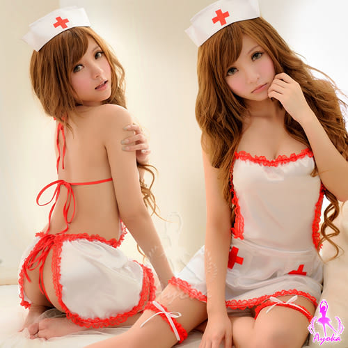 情趣用品 女性商品 肚兜造型五件組護士服(綁帶連身裙+丁字褲+護士帽+大腿圈)性感睡衣
