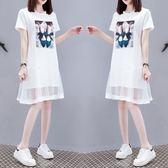 特賣款不退換中大尺碼M-4XL短袖T恤裙連身裙中長款大碼女裝顯瘦網紗短袖胖mm連衣裙棉T裙NE257-A-8639