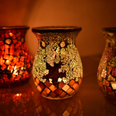 馬賽克手工蠟燭香薰爐家用香薰燈精油香塔禮物創意蠟燭臺