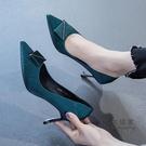 細跟高跟鞋 女春秋職業鞋2021年新款網紅尖頭氣質單鞋女黑色工作鞋 交換禮物