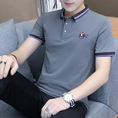 男士短袖T恤翻領POLO衫潮流夏季男裝純色灰色簡約休閒半袖上衣服 短袖polo衫