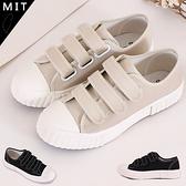 女款 台灣製造 餅乾造型底雙線條魔鬼氈 兒童鞋 平底鞋 休閒鞋 帆布鞋 餅乾鞋 59鞋廊