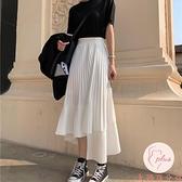 夏季長裙女中長款雪紡裙子不規則半身裙夏季【大碼百分百】
