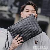 潮包真編織男包手拿包男士手包軟皮手腕包男信封包大容量潮斜背包 名購新品