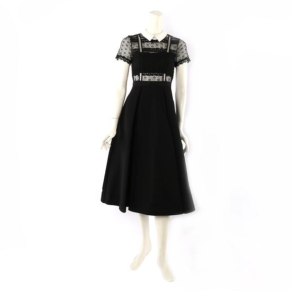 【self-portrait】短袖白領蕾絲寬過膝裙洋裝 (黑色) SP10069/BLACKWHITE