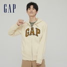 Gap男裝 碳素軟磨系列 Logo法式圈織開襟連帽外套 853131-奶油米色