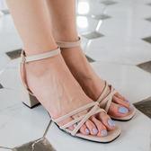 涼鞋.氣質趾尖交叉帶高跟涼鞋.白鳥麗子