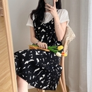 印花假兩件雪紡洋裝連身裙【88-16-8010504-21】ibella 艾貝拉