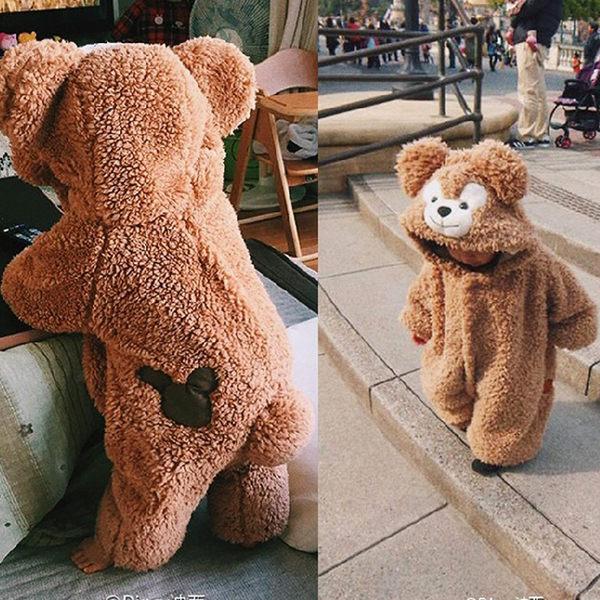 男寶寶連體衣睡衣0外出服抱衣1-3歲嬰兒女衣服秋冬季達菲熊爬行服 麻洋