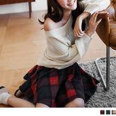 OrangeBear《CA606》經典英倫格紋鬆緊褲裙--適 XL~5L