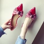 漆皮鞋時尚新款女鞋大碼蝴蝶結漆皮淺口尖頭平跟平底單鞋 琉璃美衣