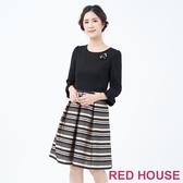 【RED HOUSE 蕾赫斯】素面條紋洋裝(卡其色)