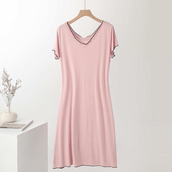 新鮮貨 莫代爾連衣裙2021新款夏a字裙休閑百搭裙子寬松顯瘦短袖打底長裙