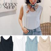 Queen Shop【01150176】口袋造型無袖上衣 四色售*現+預*