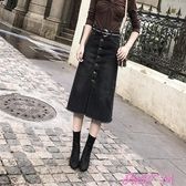 半身裙女大碼新款秋冬中長裙開叉彈力黑色牛仔半身裙女學生高腰包臀裙春季新品