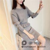 套裝/秋裝女兩件套韓版時尚初秋氣質秋冬季針織毛線包臀裙「歐洲站」
