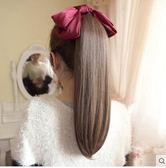 夏洛克假髮綁系式假馬尾直發女長直發梨花自然卷時尚逼真假髮夾