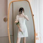 一字肩性感包臀連身裙女夏季收腰泡泡袖裙子溫柔【橘社小鎮】