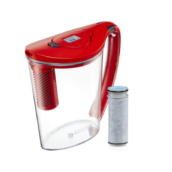 [106美國直購] Brita 10 Cup Stream Filter as You Pour Water Pitcher with 1 Filter, Hydro, BPA Free, Chili Red