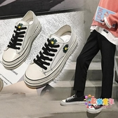 板鞋 網紅小雛菊帆布鞋女2020春季新款ins原宿學院風韓版百搭小白板鞋板鞋 2色