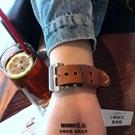 適用iwatch腕帶蘋果apple watch錶帶復古真皮【小檸檬3C】
