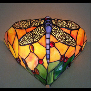 設計師美術精品館歐式燈具 彩色玻璃 溫馨田園蜻蜓壁燈 蒂凡尼壁燈電視背景墻壁燈
