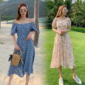 清倉$388 韓國風一字領波點雪紡復古單排釦短袖洋裝
