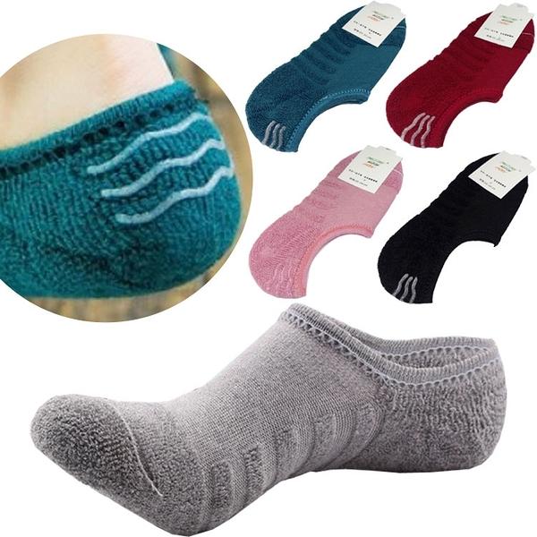 毛巾布船形襪 純棉秋冬加厚大碼隱形襪 純色矽膠防滑防臭毛圈襪 男士女士 米荻創意精品館