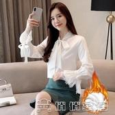 襯衫女 秋冬加絨蝴蝶結襯衫女長袖新款韓版職業女裝蕾絲雪紡上衣白色襯衣 17店