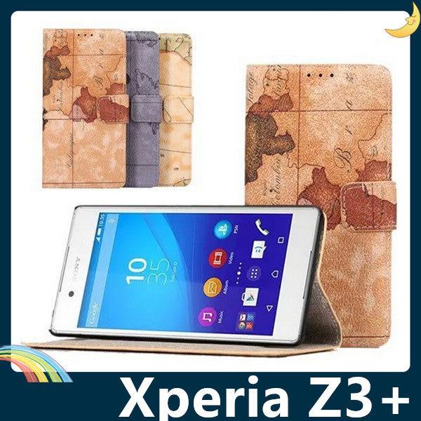 SONY Xperia Z3+ Plus E6553 地圖紋保護套 皮紋側翻皮套 簡約素面 支架 插卡 錢夾 磁扣 手機套 手機殼