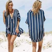 罩衫 直條紋 V領 綁帶 開衩 外搭 沙灘 比基尼 罩衫【ZS510】 BOBI  04/26