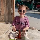 女童短袖 女童夏季新款時髦洋氣百搭兒童短袖T恤圓領印花寬松純棉上衣  寶貝計畫