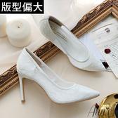 Ann'S迷樣誘惑-半透蕾絲性感尖頭高跟鞋-白