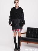 【2%】miffy X 2% 米飛拼接刷毛長版外套_黑