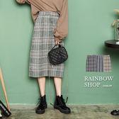 甜美格紋配色中長裙-A-Rainbow【A080189】