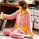學生外穿可愛加厚星星法蘭絨珊瑚絨睡衣女女秋冬季長袖套裝家居服 歐韓時代