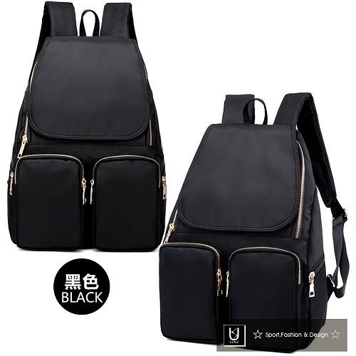 【US.STYLE】韓版牛津布純色設計雙口袋後背包(時尚黑)