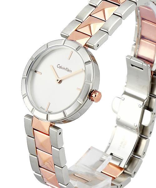 CK   Calvin Klein 前衛鉚釘女性手錶飾品(K5T33BZ6)-銀白面x玫瑰金色/30mm